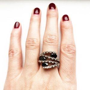Vintage onyx black & rhinestone strand ring